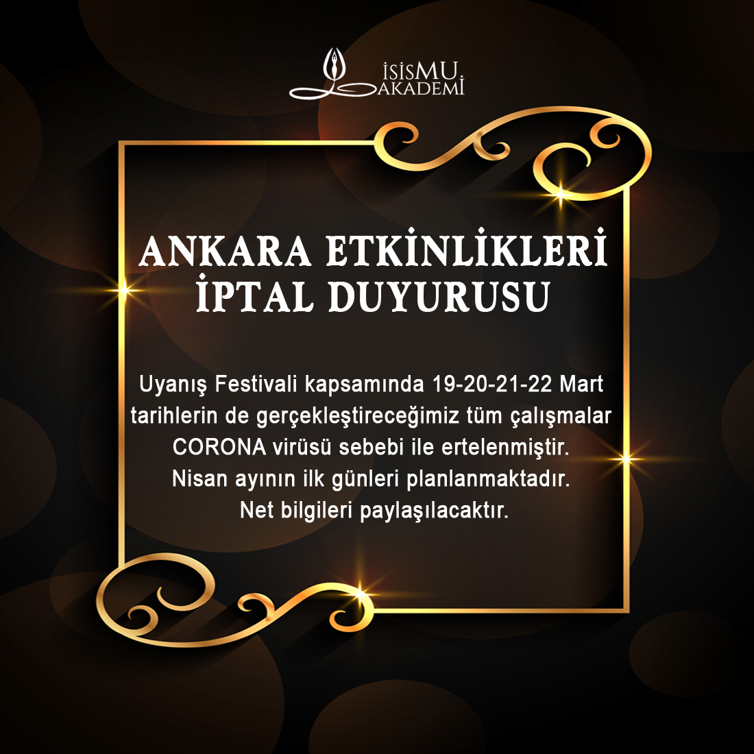 Ankara Etkinlikleri İPTALİ 19-20-21-22 Mart 2020